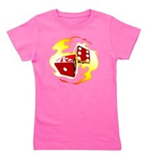 Flaming Dice Girl's Tee