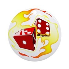 Flaming Dice Round Ornament