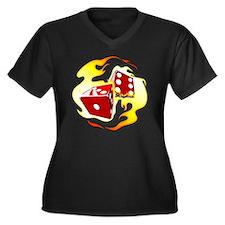 Flaming Dice Women's Plus Size Dark V-Neck T-Shirt