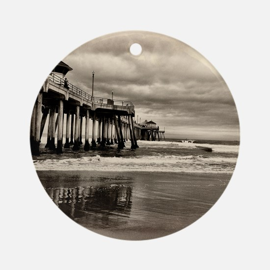 Huntington Beach CA Pier Round Ornament