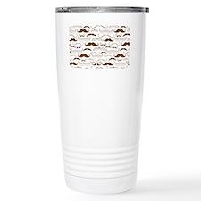Mustache Pattern Brown Travel Mug