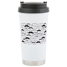 Mustache Pattern Black Travel Mug