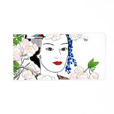 Geisha and Sakura for Squar Aluminum License Plate
