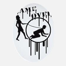 game_over_graffiti_stamp Oval Ornament