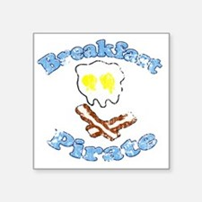 "Vintage Breakfast Pirate Square Sticker 3"" x 3"""