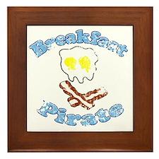 Vintage Breakfast Pirate Framed Tile