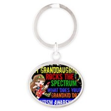 D Granddaughter Rocks The Spectrum A Oval Keychain