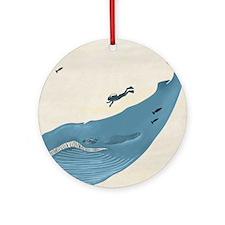 Blue Whale Round Ornament