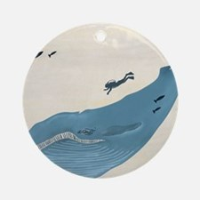 Blue Whale Round Ornament