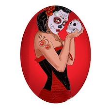 Skull Love - dia de los muertos Pin- Oval Ornament