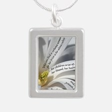 Proverbs 31 Mother Silver Portrait Necklace