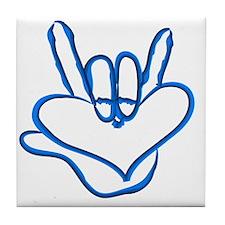 I love you - Electric blue Tile Coaster
