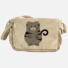 Gray Cat Messenger Bag