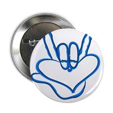 """I love you - Electric blue 2.25"""" Button"""