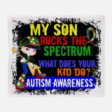 D Son Rocks The Spectrum Autism Throw Blanket