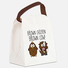 Cute Brown Chicken Brown Canvas Lunch Bag