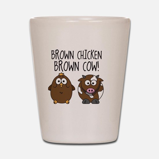 Cute Brown Chicken Brown Shot Glass