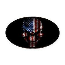 flag_skull_dark_Oval_Tailgate Oval Car Magnet