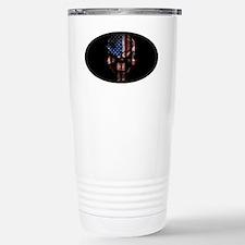 flag_skull_dark_Oval_Ta Stainless Steel Travel Mug
