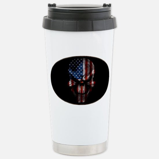 flag_skull_dark_Oval_Ta Stainless Steel Travel Mug