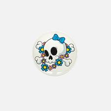 Flower Power Skull Mini Button