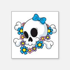 """Flower Power Skull Square Sticker 3"""" x 3"""""""