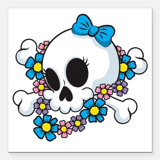 """Flower Power Skull Square Car Magnet 3"""" x 3"""""""