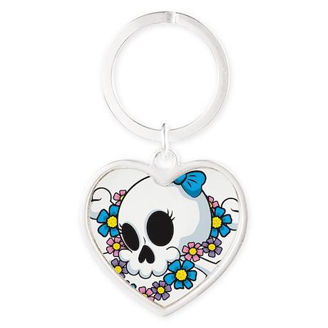 Flower Power Skull Heart Keychain