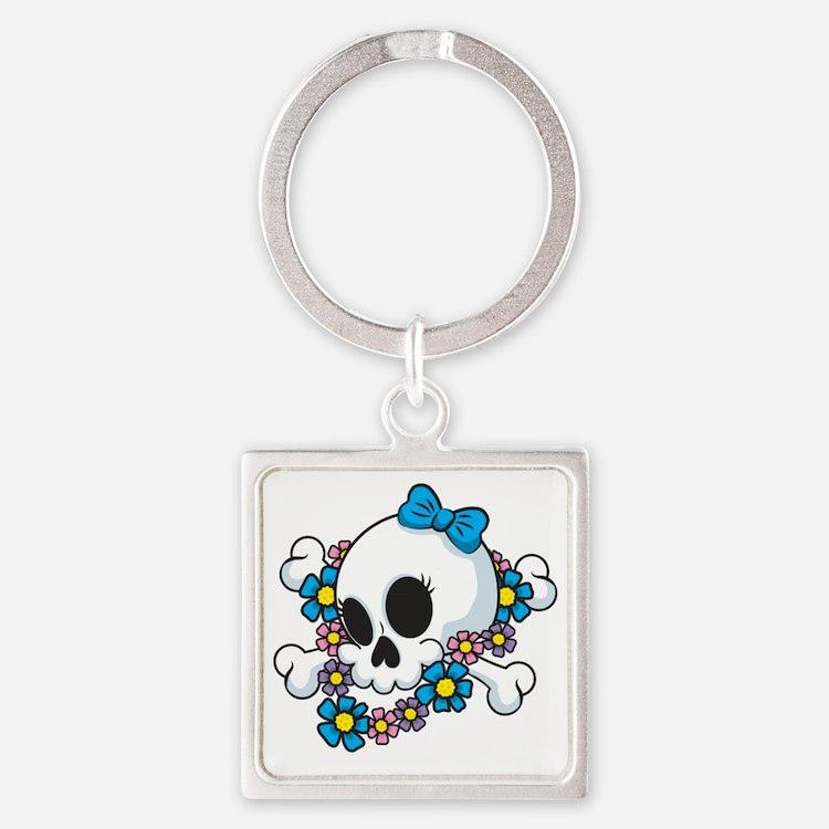 Flower Power Skull Square Keychain