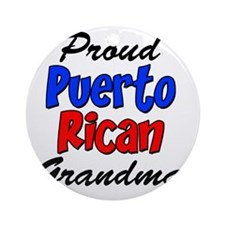 Proud Puerto Rican Grandma Glass Round Ornament