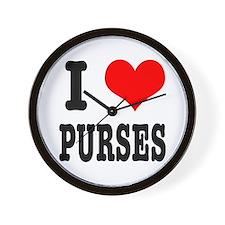 I Heart (Love) Purses Wall Clock