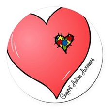 Autism is in my heart Round Car Magnet