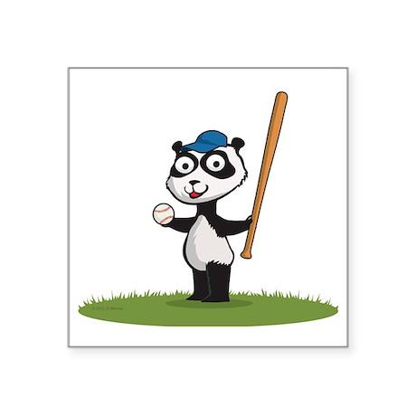 """Panda Baseball Player Square Sticker 3"""" x 3"""""""