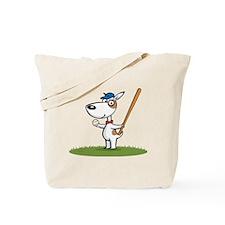Dog Baseball Player Tote Bag
