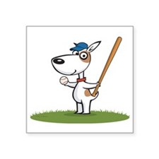 "Dog Baseball Player Square Sticker 3"" x 3"""