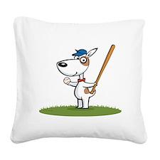 Dog Baseball Player Square Canvas Pillow