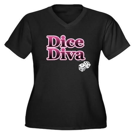 Dice Diva Women's Plus Size V-Neck Dark T-Shirt