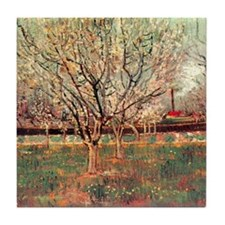 Orchard in Blossom, Plum Trees. Vince Tile Coaster