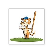 "Kitten Baseball Player Square Sticker 3"" x 3"""
