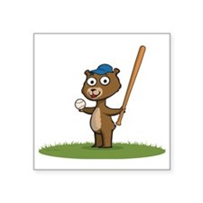 "Bear Baseball Player Square Sticker 3"" x 3"""