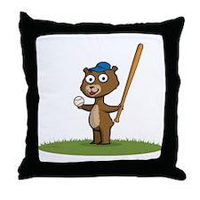 Bear Baseball Player Throw Pillow