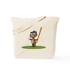 Bear Baseball Player Tote Bag