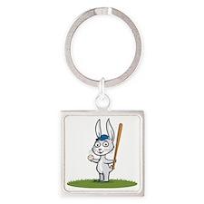 Bunny Baseball Player Square Keychain