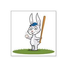 "Bunny Baseball Player Square Sticker 3"" x 3"""