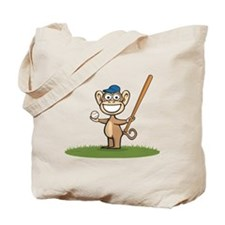 Monkey Baseball Player Tote Bag