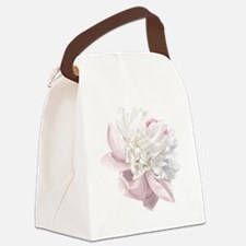 Elegant White Peony Canvas Lunch Bag