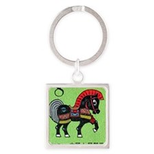 Vintage 1990 China Horse Zodiac Po Square Keychain