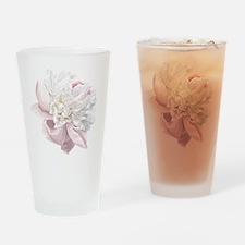 Elegant White Peony Drinking Glass