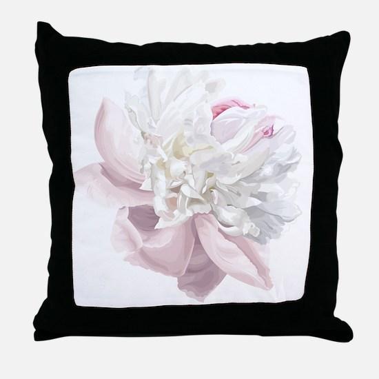 Elegant White Peony Throw Pillow