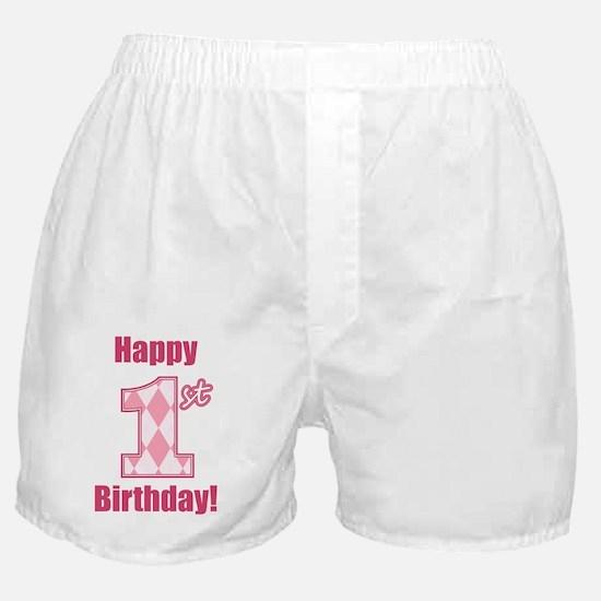 Happy 1st Birthday - Pink Argyle Boxer Shorts